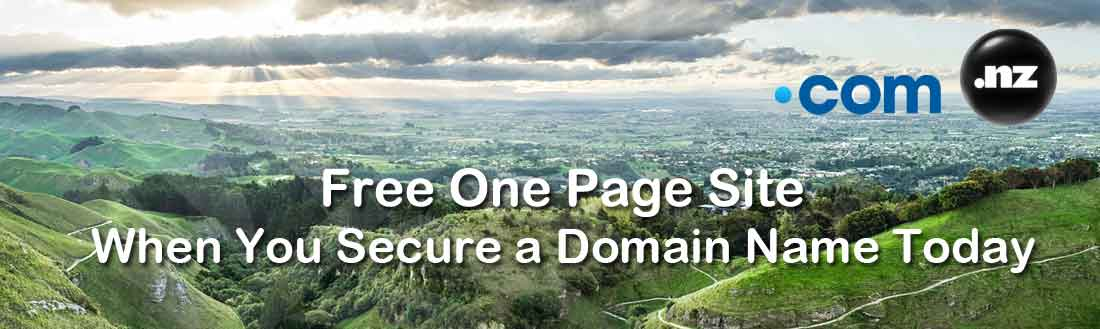 Get A free one page site when you purchase a domain